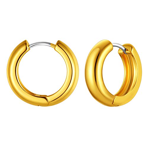 Round Hoop Thick Earring, Round Gold Huggie Earring, 18K Gold Hoop Earring, Chunky Hoop Earring, Small Thick Chunky Earring,Circle Loop Huggie