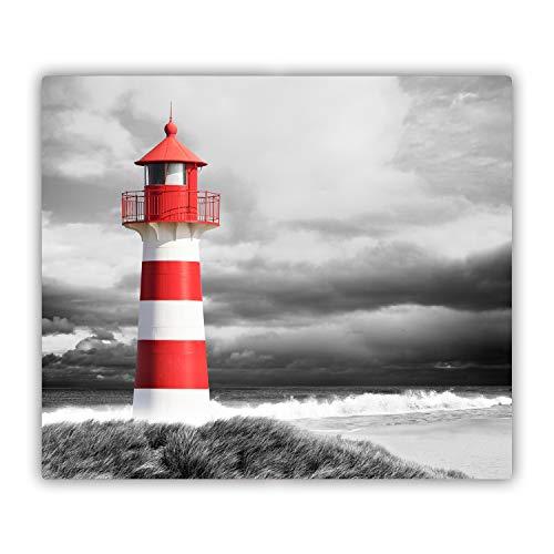 Tulup Glas Herdabdeckplatte Ceranfeldabdeckung Spritzschutz Glasabdeckplatte Kochplattenabdeckung und Schneidebrett - Einteilig - 60x52 cm - Landschaften - Leuchtturm - Rot