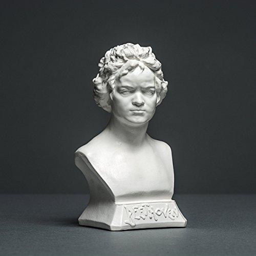 Alex Agwanjan Beethoven Skulptur aus hochwertigem Zellan, echte Handarbeit Made in Germany, Büste in weiß, 12cm