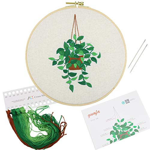 All Range of Embroidery Starter Kits, Stamped Cloth with Plant Pattern,1pc Embroidery Hoop,Color Threads Tools Kit,2pc Needles,1pc Instruction Manual (Plant) (511119)