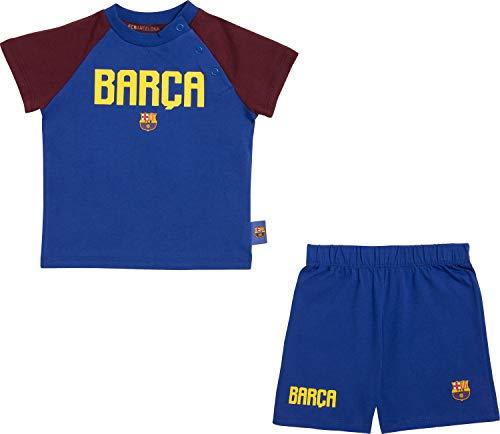 Fc Barcelone Conjunto Camiseta de algodón Pantalones Cortos bebé Barça - Colección Oficial Talla bebé 12 Meses