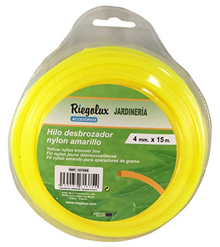 Riegolux 107668 Hilo Desbrozadora Nylon Cuadrada, Amarillo, 4 mm x 15 m