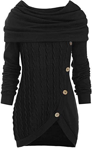 Vestido de manga larga con capucha, suéter de punto de cable, sudaderas para mujer, color sólido, cuello montón, suéter de punto, sudadera casual, irregular, suelta, talla 3XL, color negro