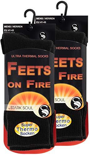 STARK SOUL FEETS on FIRE - 2 Paar Herren Ultra Thermo Socken, Warme Winter Socken, Schwarz