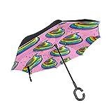 Rainbow Poop - Paraguas invertidas reversibles para mujer y hombre, resistente al viento, impermeable, doble capa