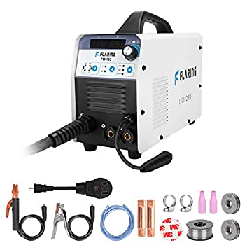 FLARING Mig Welder Machine IGBT Flux Core Stick ARC/MMA/LIFT TIG/MIG Welding Machine Inverter AC to DC 110/220V Gas/Gasless Digital Display for Beginner