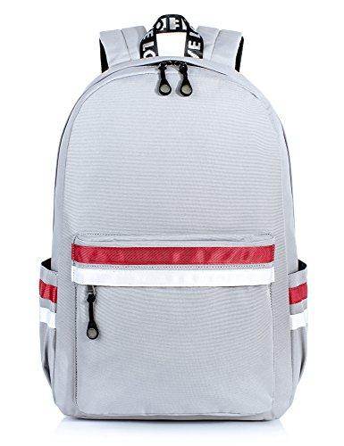 H HIKKER-LINK Water-Resistant 15.6 inch College Laptop Backpack School Bookbag Travel Daypack Gray