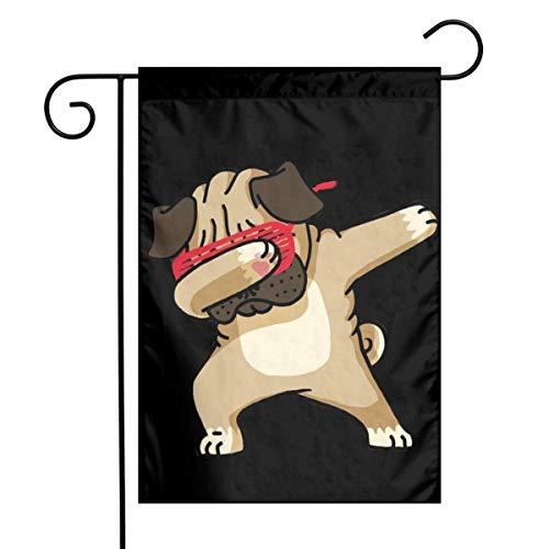 BHGYT Happy Mops Festliche Gartenflagge Haustür Flagge Dekoration Familie Outdoor Banner Mode Mode 12 18 '