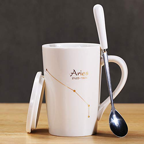 Porcelain Tea Cup for Aries Constellation Pattern Large Espresso Coffe Cups with Lid and Stainless Steel Spoon for Home Office Tea and Milk Mugs 450ml