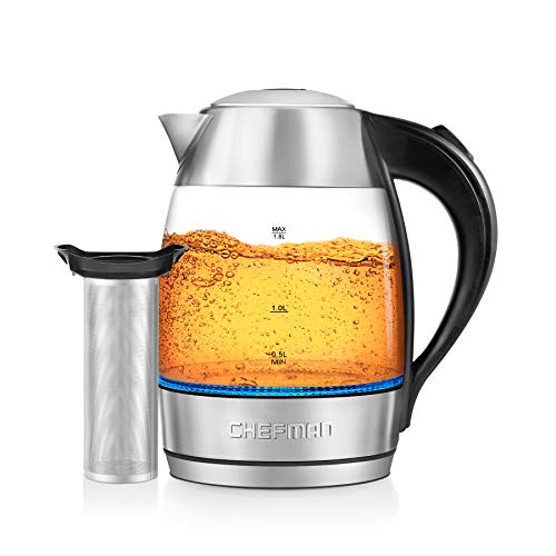 Chefman, Fast W/LED Lights Auto Shutoff & Boil Dry Protection, Cordless Pouring, BPA Free, Removable Tea Infuser, 1.9 Quart, 3 Min Boil Electric Glass Kettle