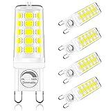 ONSTUY Bombilla LED G9 Regulable,6000K Blanco Frío,4W G9 Bombillas LED,Lámpara Halógeno Equivalente 40W,400Lm,Ángulo de Luz de 360°,AC 220-240V,Sin Parpadeos,Paquete de 5