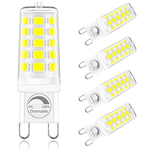 ONSTUY Lampadine LED G9 Dimmerabile,6000K Bianca Fredda,Lampadina G9 LED 4W,Equivalente 40W Lampada Alogena,400Lm,AC 220-240V, 360° Angolo Fascio,Senza Sfarfallio,Confezione da 5