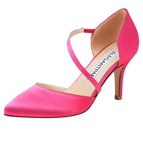ElegantPark HC1711 Punta Estrecha de Las Mujeres Tacones de Aguja Zapatos de la Corte de Las Correas de la Boda Fiesta de Baile Zapatos de Novia Hot Pink EU 40
