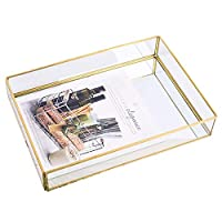 金真鍮側バスケットガラス収納トレイ、ジュエリー香水キャンドルメイクトレイ、北欧レトロミラーメタルデコレーション収納ボックス,L