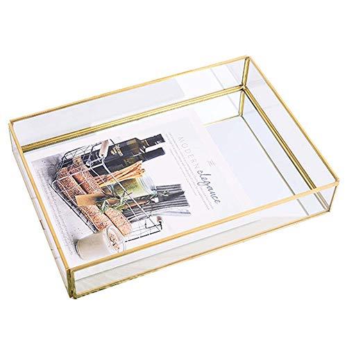 Goldene Messing Seitenkorb Glasablage,Schmuck Parfüm Kerze Make-Up Tablett,Nordic Retro Mirror Metalldekoration Aufbewahrungsbox,M