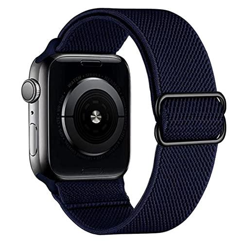 NiceJoy Correas de Reloj de Nylon Ajustables compatibles con iWatch 42mm 44mm de Pulsera de reemplazo Azul Oscuro Azul