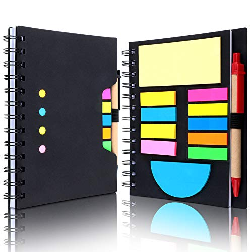 2 Pieces Spiral Notebook Steno Business Notepad Wide Ruled Notebooks with Pen Holder and Sticky Notes Index Tabs Page Markers for School Office Business Travel, 290 Sheets Totally (Black)
