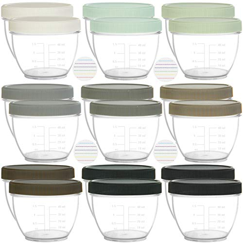 Youngever 18 Pack Baby Food Storage, 2 Ounce Baby Food Containers with Lids and Labels, 9 Urban Colors
