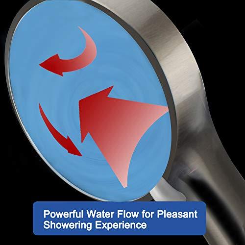 High Pressure Handheld Shower Head with Powerful Shower Spray against Low Pressure Water Supply Pipeline, Multi-functions, w/ 79'' Hose, Bracket, Flow Regulator, Brushed Nickel Finish