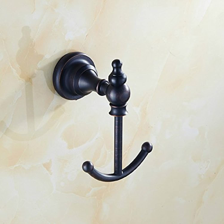 Renovatsh Black Copper Hanger Hook Hook Antique European Style Bathroom Solid Single Hookdurable Modern Minimalist Decoration Quality Assurance Beautiful and Elegant Comfortable