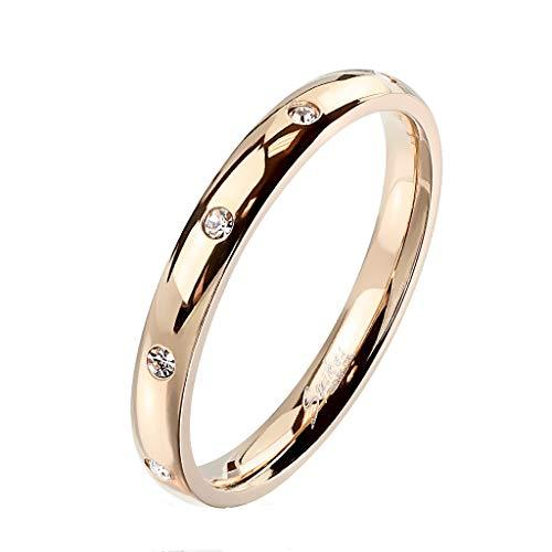 Paula & Fritz® Damen-Ring glänzend 3mm Zirkonia Silber Gelb-Gold Rosé-Gold Bunt Freundschafts-Ring Partner-Ring Edelstahl 316L R-M6822R_90