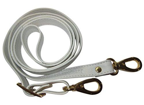 Josephine Osthoff Handtaschen-Manufaktur 2 cm Leder Schulterriemen - Weiß/Gold - Trageriemen, Riemen Gurt Schultergurt Lederriemen