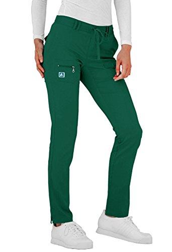 Adar Pro Scrubs For Women - Skinny Leg Yoga Scrub Pants - P4100 - Hunter Green - L