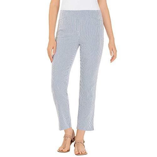 Hilary Radley Ladies' Seersucker Pull-On Ankle Pant (Small, Blue Stripes)