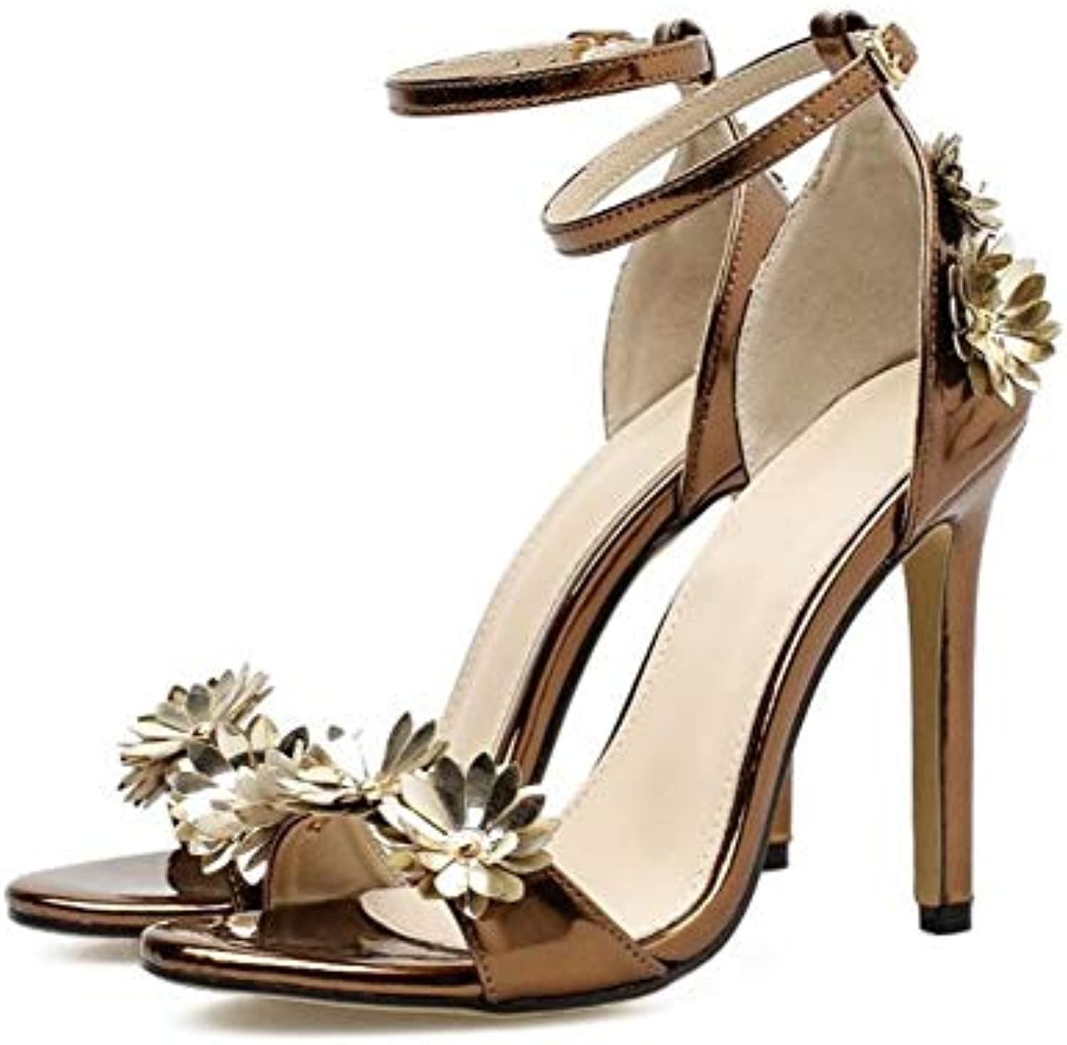 JQfashion Ladies'High Heels Pointed Thin Heels and Buckled Sandals Flower Metal Texture Lacquer Leather
