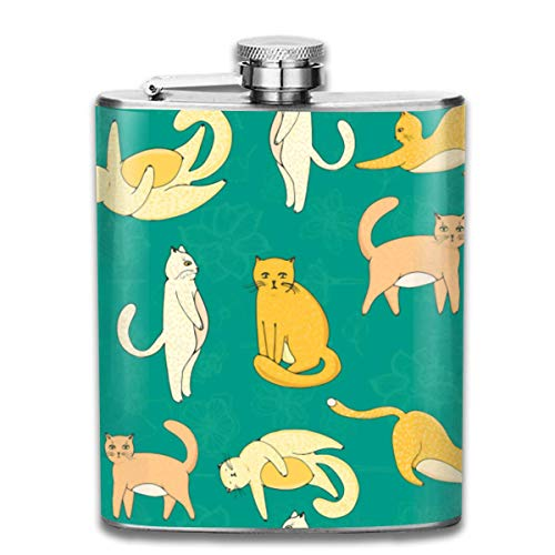 Zcfhike Flask Travel Camping Flagon Cute Cats Stoup Rum Container Flask Pocket for Unisex