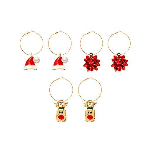 RUIZHEN 3 Pcs Christmas Hoop Earrings Holiday Earrings Christmas Earring for Women Girls