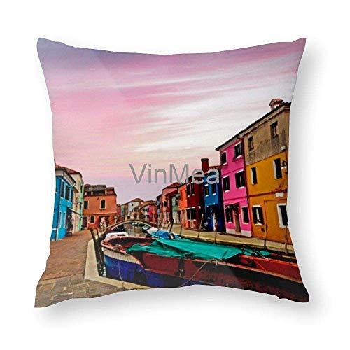 N\A Dekorative Überwurfkissenbezüge Der dekorative Überwurfkissenbezug Burano Island Kissenbezug Baumwolle für Sofa Couch Chair Seat, Square Inches