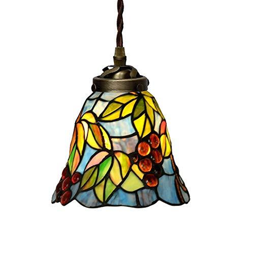Lámpara de 7 Pulgadas Lámpara de Estilo Tiffany Retro Vidrieras Luces Colgantes Dormitorio Restaurante Pasillo Lámpara Colgante lights18CM Altura 15CM Happy House