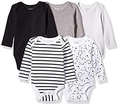 Hanes Ultimate Baby Flexy 5 Pack Long Sleeve Bodysuits, Grey/Black Stripe, 0-6 Months