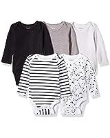 Hanes baby boys Ultimate Flexy 5 Pack Long Sleeve Bodysuits Bodystocking, Grey/Black Stripe, 18-24 Months US