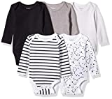 Hanes Ultimate Baby Flexy 5 Pack Long Sleeve Bodysuits, Grey/Black Stripe, 12-18 Months