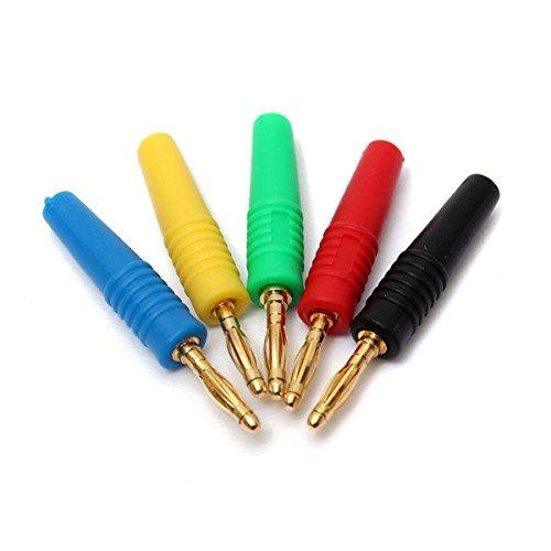 PhilMat 5pcs 5 Farben 2mm Kupfer Bananenstecker Jack für Lautsprecher Verstärker Multimeter Messsonden Anschluss