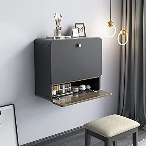 QLIGHA Multifunctional Dressing Table with Stool Wall-Mounted Modern Minimalist Bedroom Storage Cabinet Integrated Makeup Table with Movable Vanity Mirror