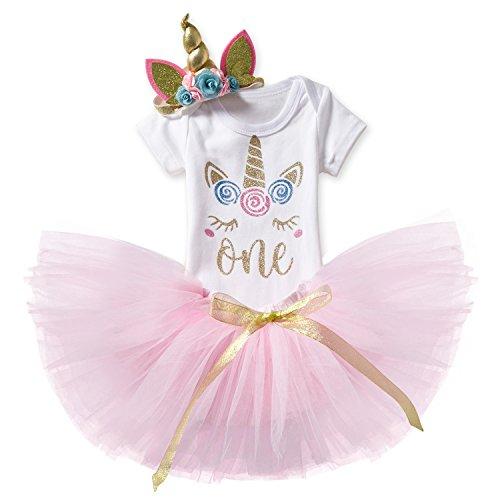 TTYAOVO Bebé Niña 1er cumpleaños 3pcs Conjuntos con Diadema Unicorn y Mameluco y Faldas Tamaño 1 años Rosa y Unicornio