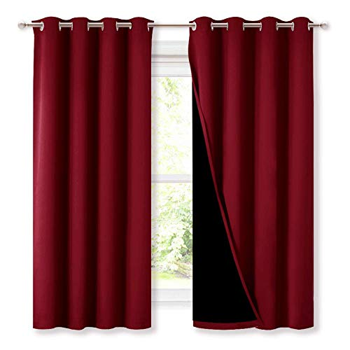 NICETOWN 100% Blackout Curtain Panels, Thermal Insulated Curtains, Noise Reducing Drapes for Window Decor (Set of 2, Burgundy Red, 52 inches Wide by 63 inches Long)