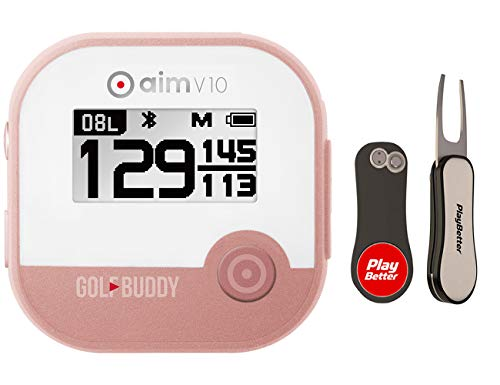GolfBuddy aim V10 (Rose Gold) Golf Talking GPS with PlayBetter Pitchfix Divot Tool Bundle | ACU via Bluetooth | Voice GPS Rangefinder | Wireless Casting | Simple One-Button Push
