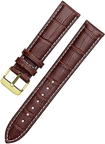 JZDH Correas de Banda de Reloj de Cuero 12-24mm Reloj Pulsera Pulsera Relojes (Color: marrón Blanco Dorado, tamaño: 12mm)