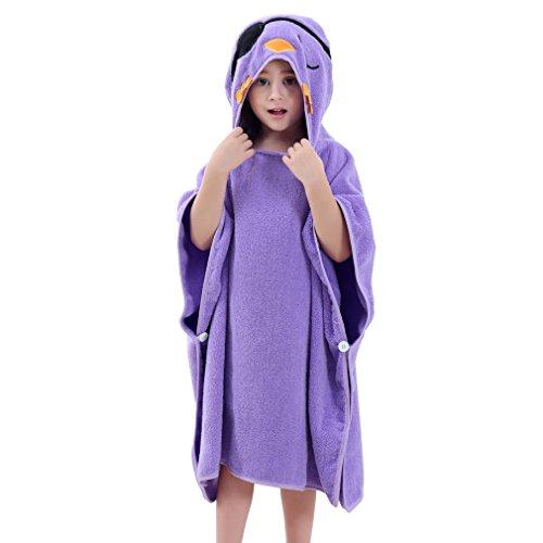MICHLEY capuchon babydeken handdoek kinderen badponcho meisje badjas 70x70cm katoen dier badhanddoeken voor 2-6 jaar Eén maat paars vogel