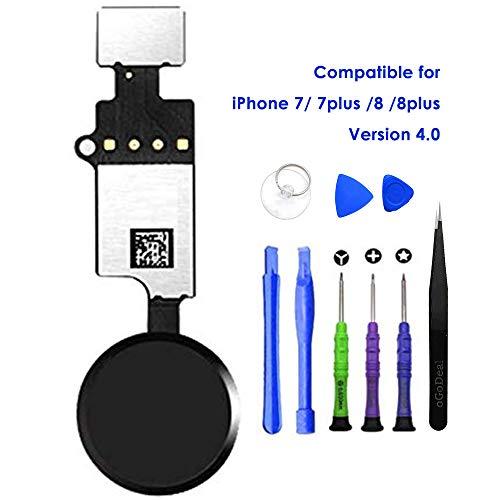 oGoDeal - Repuesto del botón Home, botón de Inicio con Cable Flex para iPhone 7, 7 Plus, 8, 8 Plus con función de Retorno, versión 4.0 (Negro)