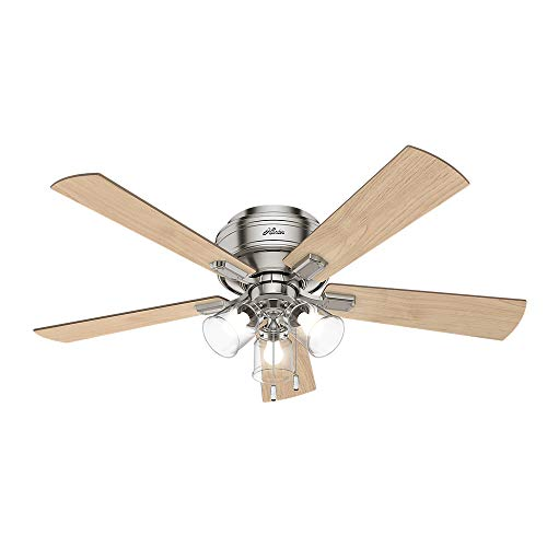 "HUNTER 54209 Crestfield Indoor Low Profile Ceiling Fan with LED Light and Pull Chain Control, 52"", Brushed Nickel"