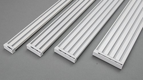 ROLLMAYER glänzend Weiß Gardinenschiene ALU 2, 3, 4, 5-läufig Deckenbefestigung (2-läufig, 140cm - mit Faltenlegehaken) Aluminium Vorhangschiene für Schiebevorhang Vorhang, Gardinen