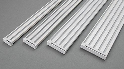 Rollmayer glänzend Weiß Gardinenschiene ALU 2, 3, 4, 5-läufig Deckenbefestigung (3-läufig, 160cm - nur Gardinenschiene) Aluminium Vorhangschiene für Schiebevorhang Vorhang, Gardinen