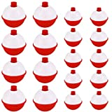 Owevvin Tecmisse 50 Pack Bobber Bulk Hard ABS Fishing Float, 1 and 1.5 Inch Fishing Bobbers Snap-on Floats, Red and White