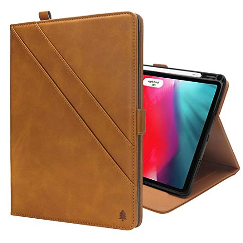 un known Horizontal Flip Double Holder Leather Case for iPad Pro 12.9 inch (2018), with Card Slots & Photo Frame & Pen Slot Accessory Personal Maintenance (Color : Light brown)