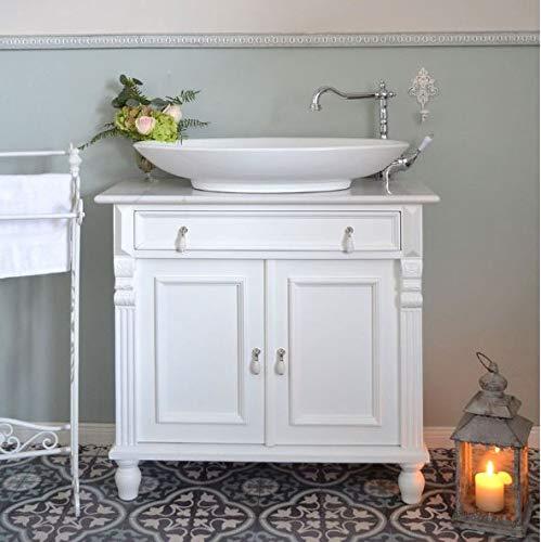 Landhaus-Waschtisch mit Marmorplatte | Waschbeckenunterschrank Landhausstil mit Aufsatzwaschbecken Badmöbel Vintage Rustikal Shabby Chic
